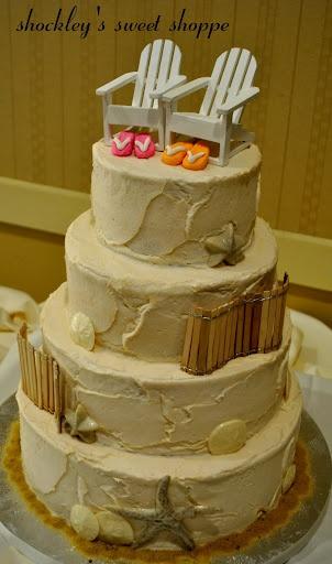 Sand beach w/flip-flops cake