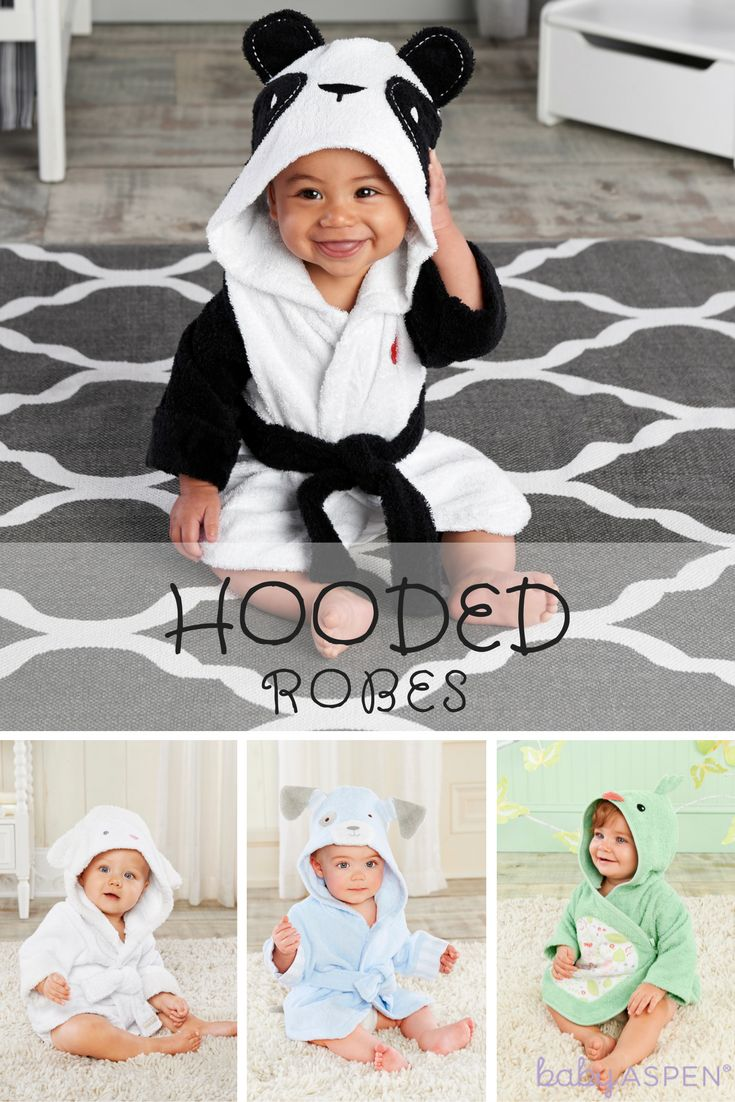 Keep baby warm & cozy after bath time with a hooded spa robe!