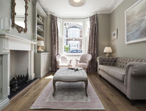 Narrow Victorian Terrace Front Room In Restful Grey Tones