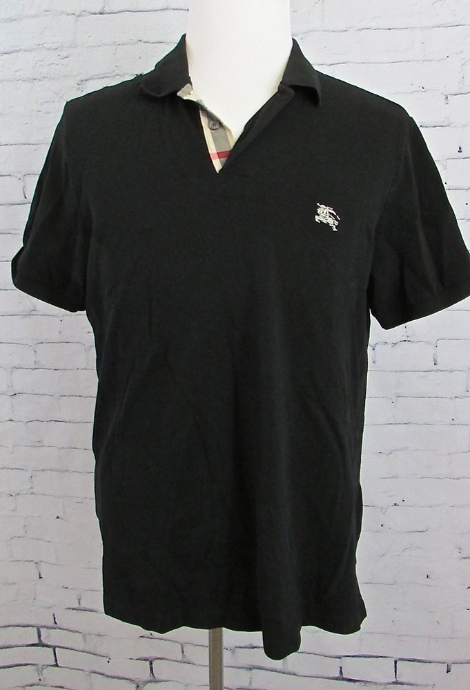 ff781ff5 Burberry Brit Men's Black Nova Check Placket Polo Shirt Knight Logo XL Fit  Large #Burberry #PoloRugby