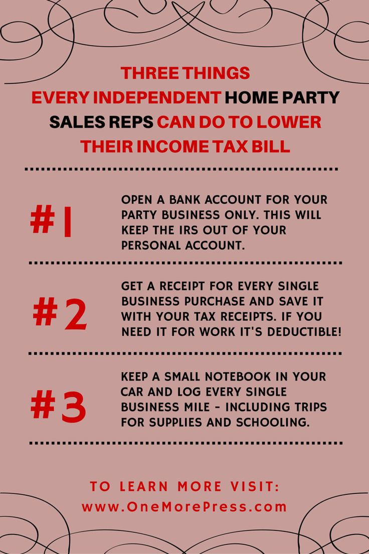 Click for more home party sales rep tax tips.
