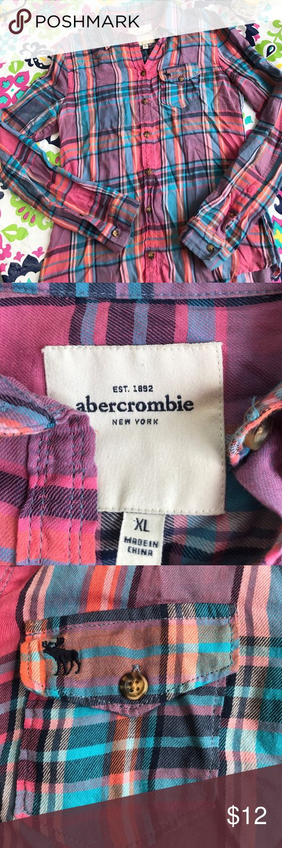 Abercrombie Girls super light weight flannel Girls Abercrombie XL super light weight plaid flannel in beautiful colors. Orange pink blue purple. Perfect for back to school when the days are still warm. EUC just got outgrown! abercrombie kids Shirts & Tops Button Down Shirts