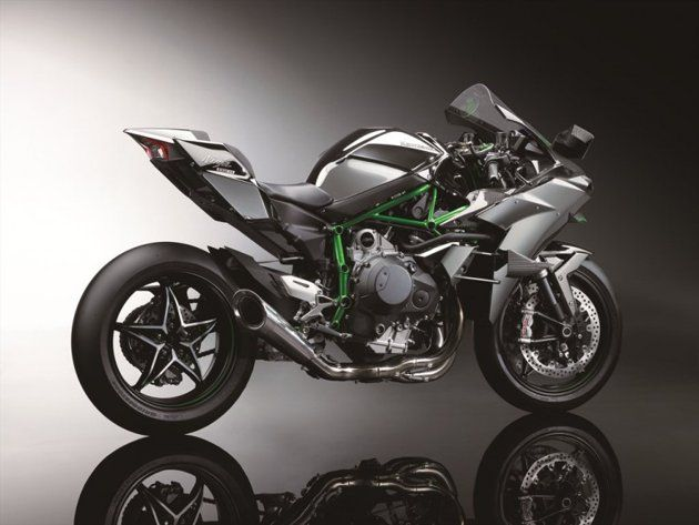 300hp Kawasaki Ninja H2 and H2R  The 2015 Kawasaki Ninja H2R is finally here, and it's big: producing an earth-moving 300 horsepower, the Ninja H2R is the most powerful motorcycle ever produced.
