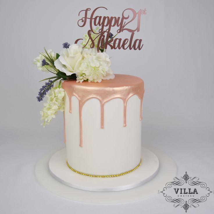 Rose Gold Drip 21st Birthday Cake 13 Birthday Cake