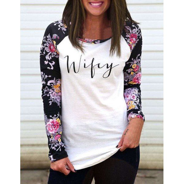 Stylish Scoop Neck Long Sleeve Floral and Letter Pattern T-Shirt For Women