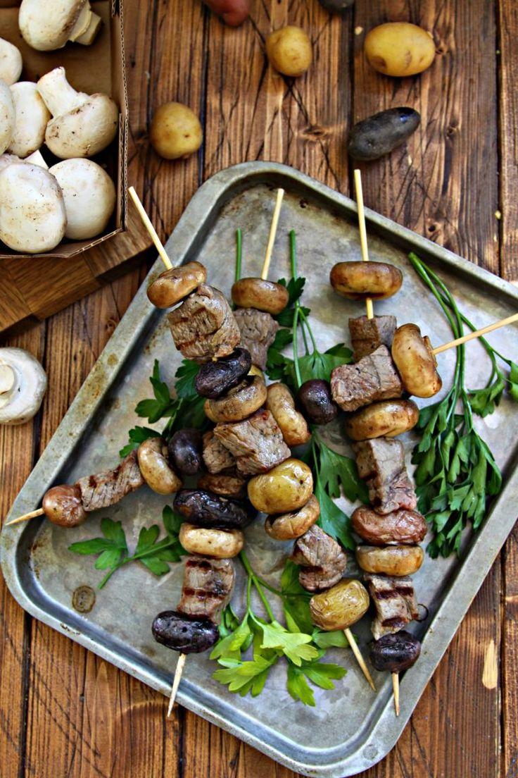 Steak, Potato and Mushroom Kebabs