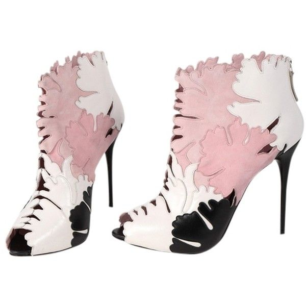 Pre-owned Alexander Mcqueen Lotus Flower Applique Leather Peep Toe Ankle Heels - featuring polyvore women's fashion shoes boots ankle booties peep-toe boots leather ankle booties stiletto booties leather boots leather bootie