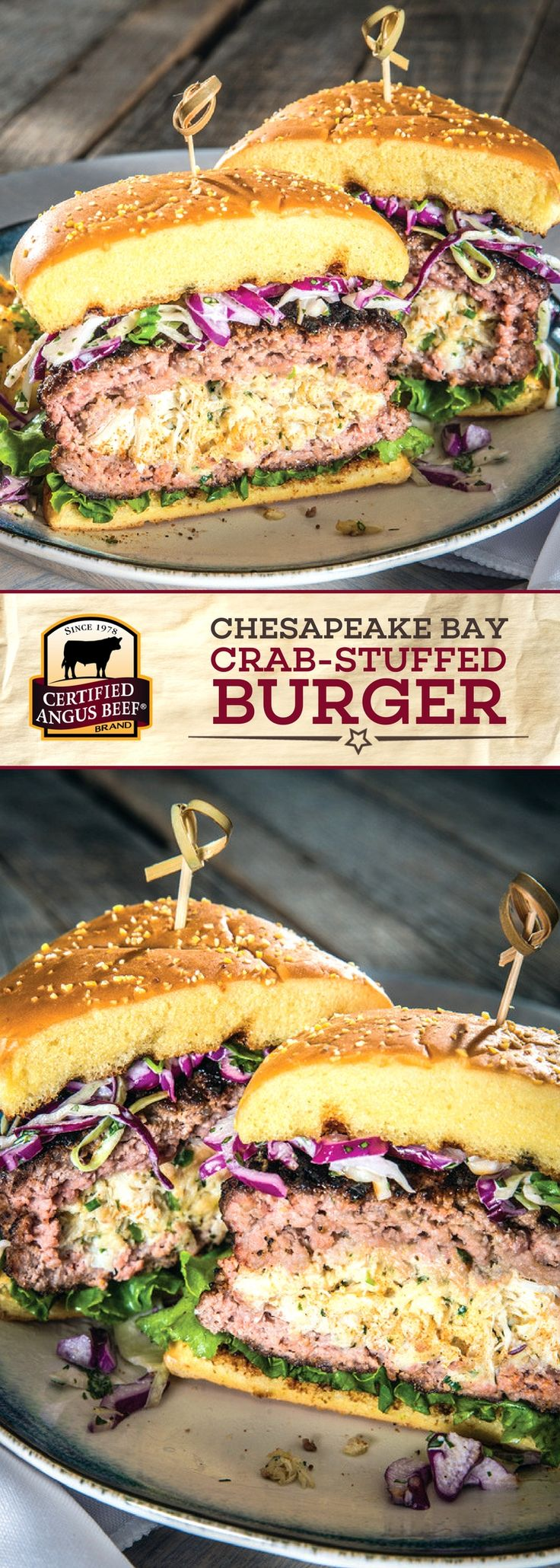 Certified Angus Beef®️️️️ brand Chesapeake Bay Crab-stuffed Burger is a MUST TRY burger recipe! The best ground chuck is stuffed with lump crabmeat and then perfectly seasoned with Old Bay and a blend of zesty, spicy flavors for an unforgettable burger. Top with remoulade sauce or lemon aioli for the best eating experience! #bestangusbeef #certifiedangusbeef #beefrecipe #burgertime #oldbay