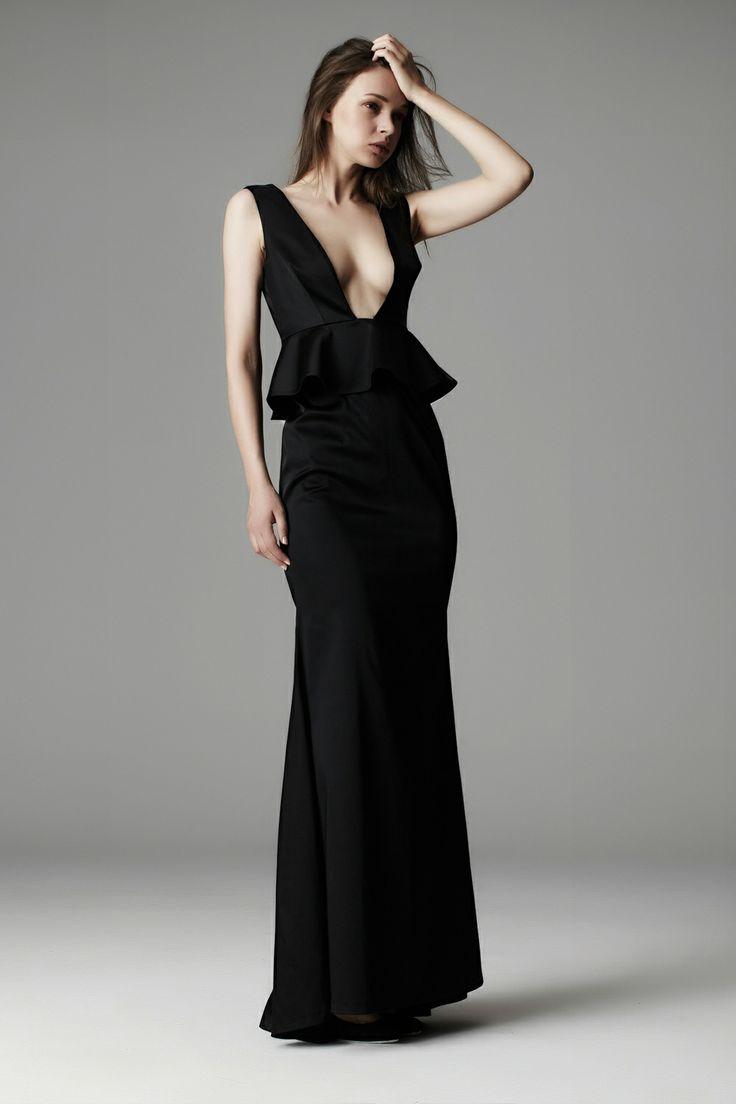 Deep V Peplum Gown    Daniela-Stephanie