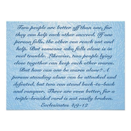 True Friend Verse Ecclesiastes 4 9 12 Poster
