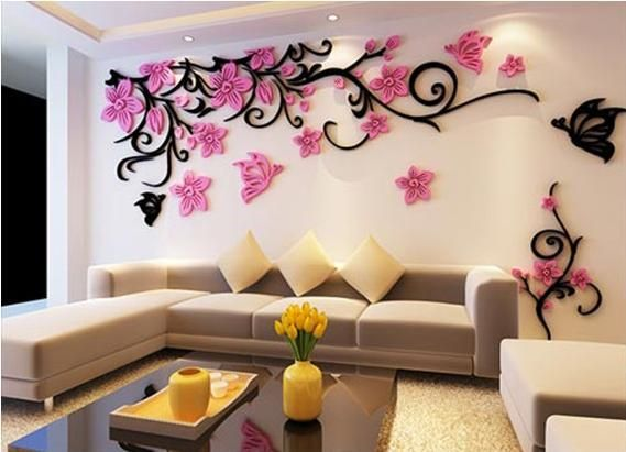Flower crystal three-dimensional Tree wall stickers acrylic sofa wall stickers Decor for Home DIY Self-adhesive Removable