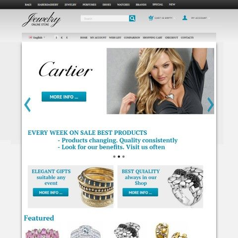 CS-Cart 3 Responsive Template cs300054 is specially designed for Jewelry`s Shop. Selling Jewelry brand Breil, Cartier, KWIAT, Movado, Fiorelli, VAOV, Swarovski. Rings, Earrings, Bracelets, Necklaces and Pendants Precious metals.