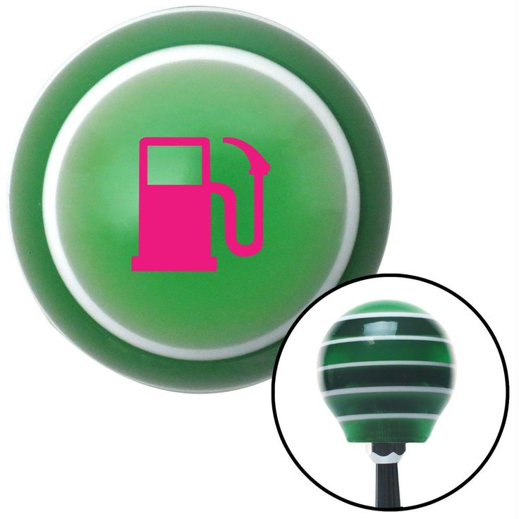 Pink Gas Station Tank Green Stripe Shift Knob with M16 x 15 Insert