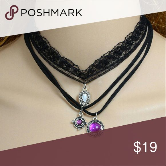 Triple Strand Black Lace and black leather Choker Beautiful black lace choker with a silver filligree charm, and two black suede strands; one features a small silver and purple charm, the other has a larger silver and purple charm. If additional length is needed please let me know when ordering. Jewelry Necklaces