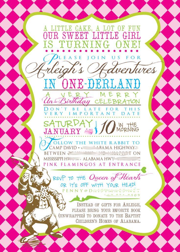First Birthday Onederland Invitation Alice In Wonderland