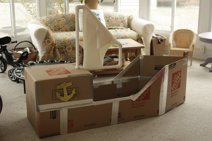 Sail - pillowcase or flag - party craft instead? Naturally Chic Mama: Our Cardboard Pirate Ship {The SS Home Depot}