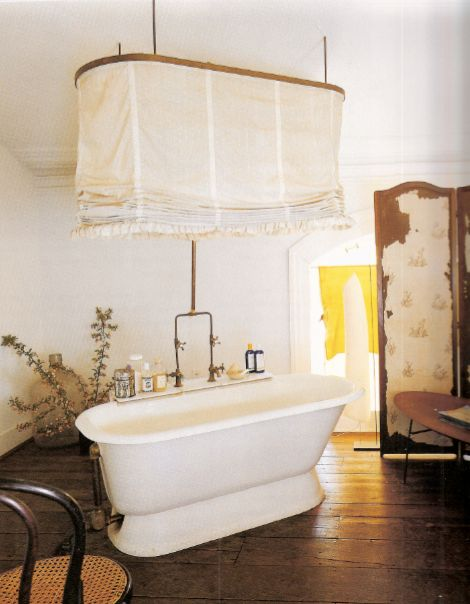 I have a clawfoot tub and I'd kill for this amazing shower curtain: http://delightbydesign.blogspot.com/2010/04/romantic-rustic.html, source: http://downandoutchic.tumblr.com/
