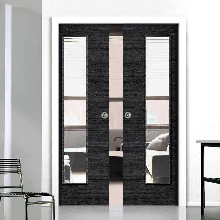 Double Pocket Eco Grigio Ash Grey with Clear Glass sliding door system in three sizes. #modernpocketdoors #contemporarypocketdoors #pocketdoorpair