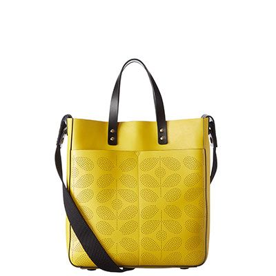 Orla Kiely | USA | bags | Mainline bags | Sixties Stem Punched Leather Burdock Bag (16SBSSP035) | yellow