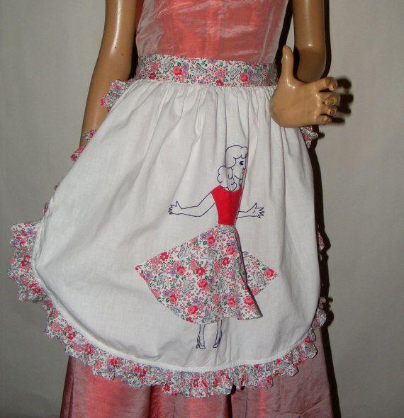 Vintage 1950s 1960s Novelty Apron Bobby Socks Circle Skirt on Etsy, $18.00