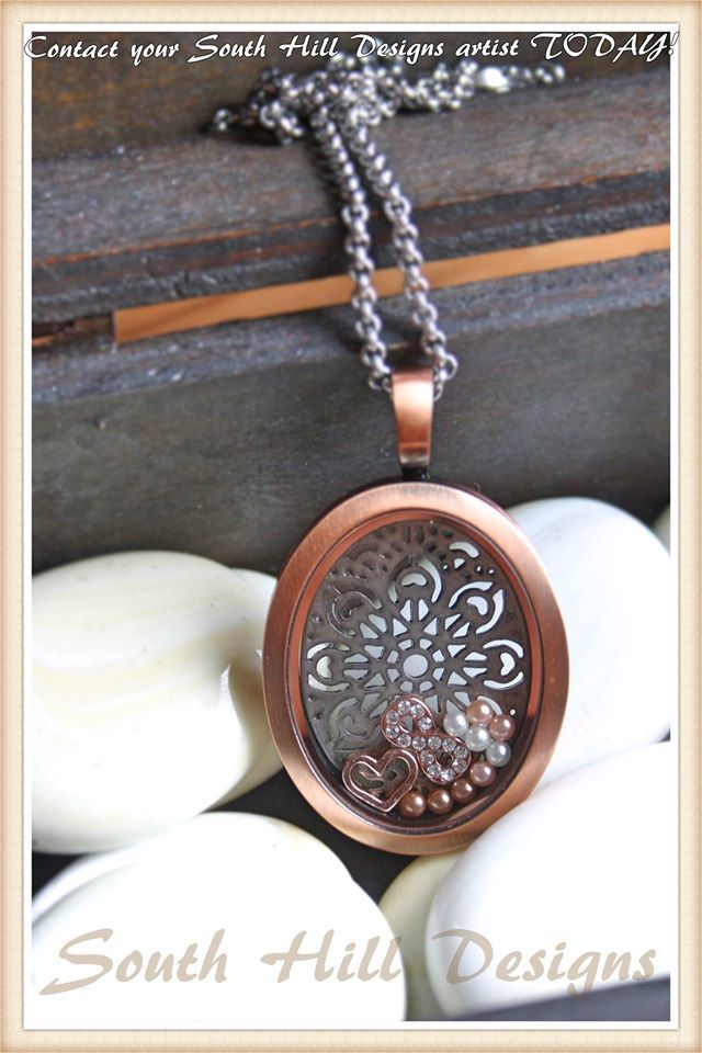 Rose Gold Oval Locket with Rose Gold Charms and pearls