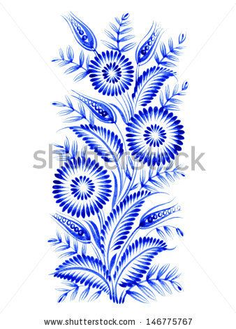 blue, flower composition, hand drawn, illustration in Ukrainian folk style - stock vector