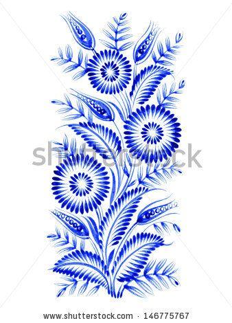 blue, flower composition, hand drawn, illustration in Ukrainian folk style - stock vector