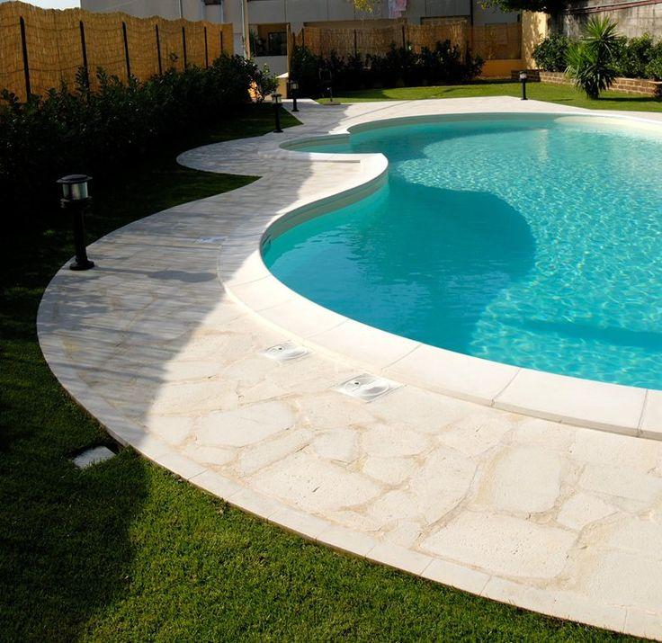 Swimming pool edge in Modica stone, Arte Pietra