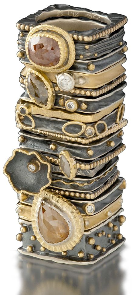 Ann Marie Cianciolo SQUARE RINGS, SILVER ,GOLD ,FACETED STONES..STACKED!