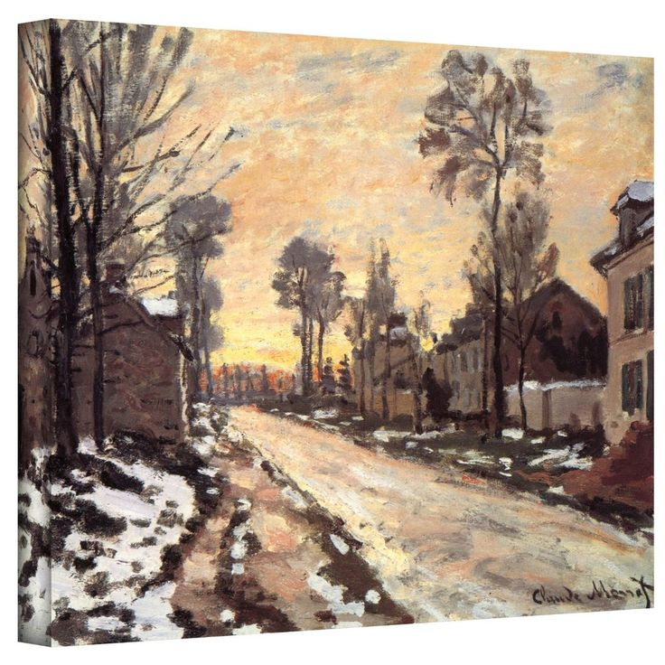Claude Monet 'Snowy Country Road' 36x48 Gallery Wrapped Canvas | Overstock™ Shopping - Top Rated ArtWall Canvas