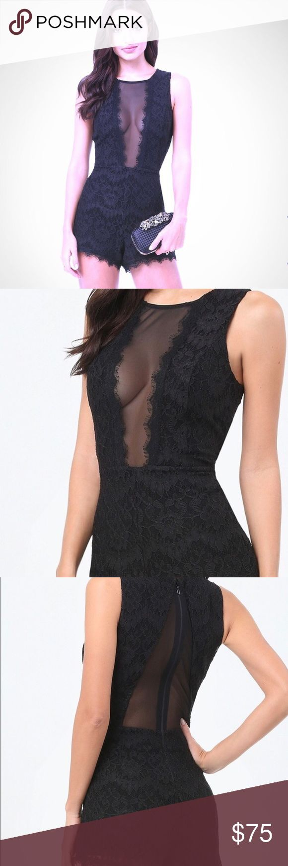 Bebe romper Worn once for  birthday dinner in July. All lacework lining except the chest areas you can see in the picture. Great condition since dry cleaned  too.  Great outfit does have some stretch. Firm on price for the moment. Payed far more then the listed price bebe Dresses