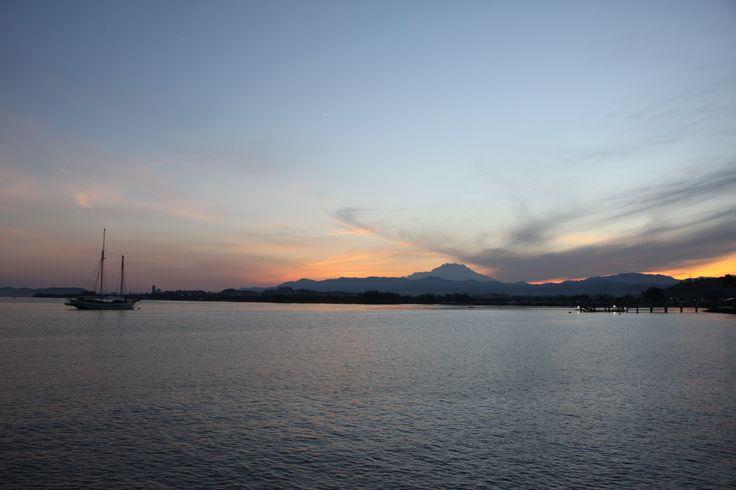 Sunset view of Mount Kinabalu taken from Kota Kinabalu