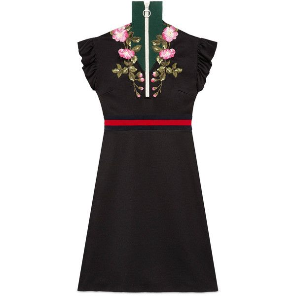 Gucci Embroidered Jersey Dress ($1,380) ❤ liked on Polyvore featuring dresses, ready-to-wear, women, floral embroidered dress, jersey dress, zipper front dress, turtleneck dresses and zip front dresses
