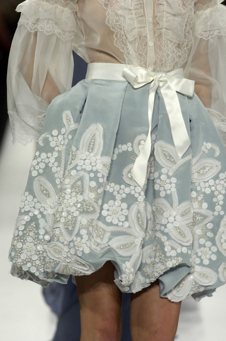 lace chiffon: Blouses, Chanel, Fashion Details, Sweet, Style, Blue Skirts, Satin Bows, White Lace, Lace Dresses