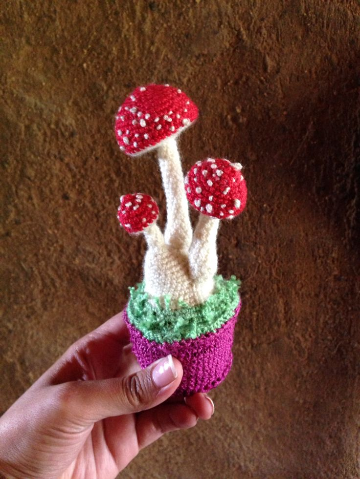 Knitted amanita muscaria in amigurumi technique