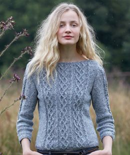 Free Pattern: Cabled Three Quarter Sleeve Sweater