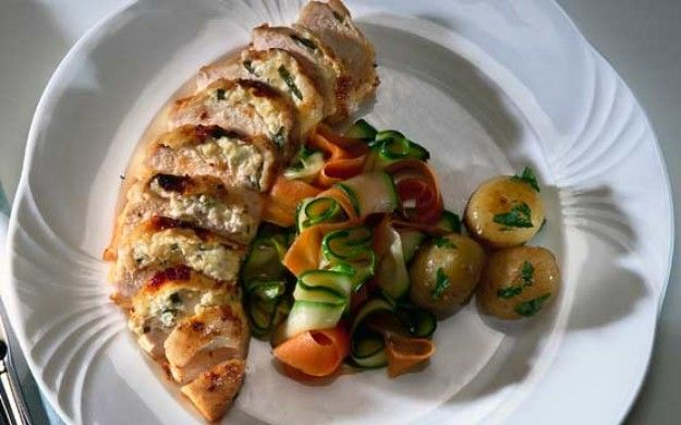 Stuffed Chicken ~ breast meat with sautéed onions, garlic, tarragon, and cream cheese   recipe by Mary Berry #GBBO via Good to Know