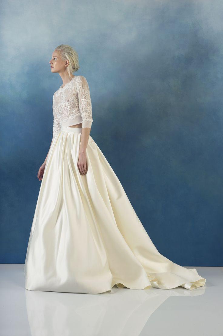 Libby - Alyne Spring 2016 / Love this 2 piece crop top full skirt look for an ultra modern girl wedding #weddingdress