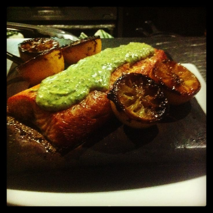 Planked hot smoked salmon with dill mustard