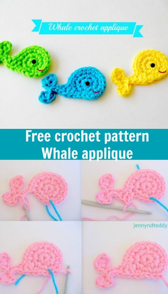 Whale crochet applique free pattern