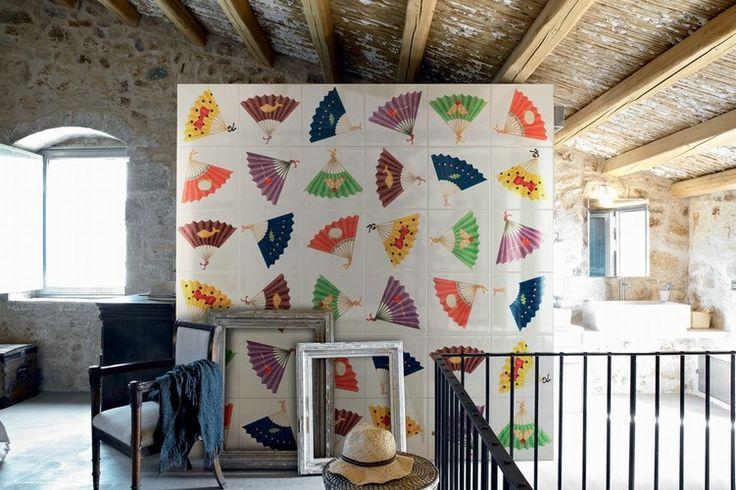"""colorful ceramic tiles from Bardelli. """"Ventagli"""" by Davide Pizzigoni"""