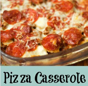 Pack your favorite pizza toppings into this easy pizza casserole recipe for Dump and Go Sausage and Pepperoni Pizza Casserole.