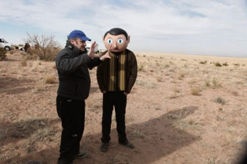 Lenny Abrahamson and Michael Fassbender on-set of Frank (2014)
