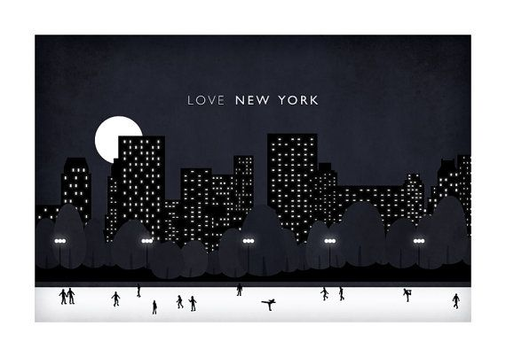 Central Park illustration A3 New York Night by WeaversofSouthsea
