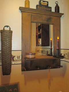 LOVE LOVE the design of this bathroom mirror!!  The color and distressing are PERFECT!