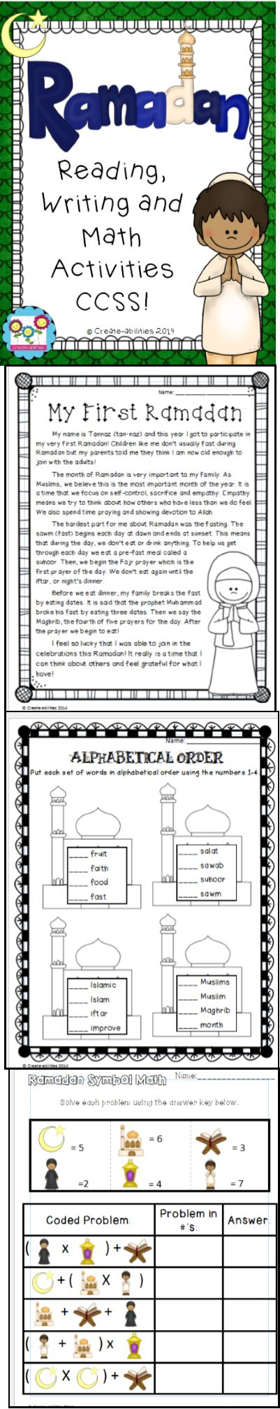 Ramadan activity pack! Easy and effective way to teach students a little about this important holiday coming up! $  #Ramadan #commoncore #Muslim