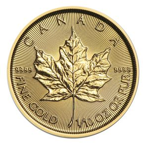 2015 Canadian Gold Maple Leaf Coins - 1/10 oz.