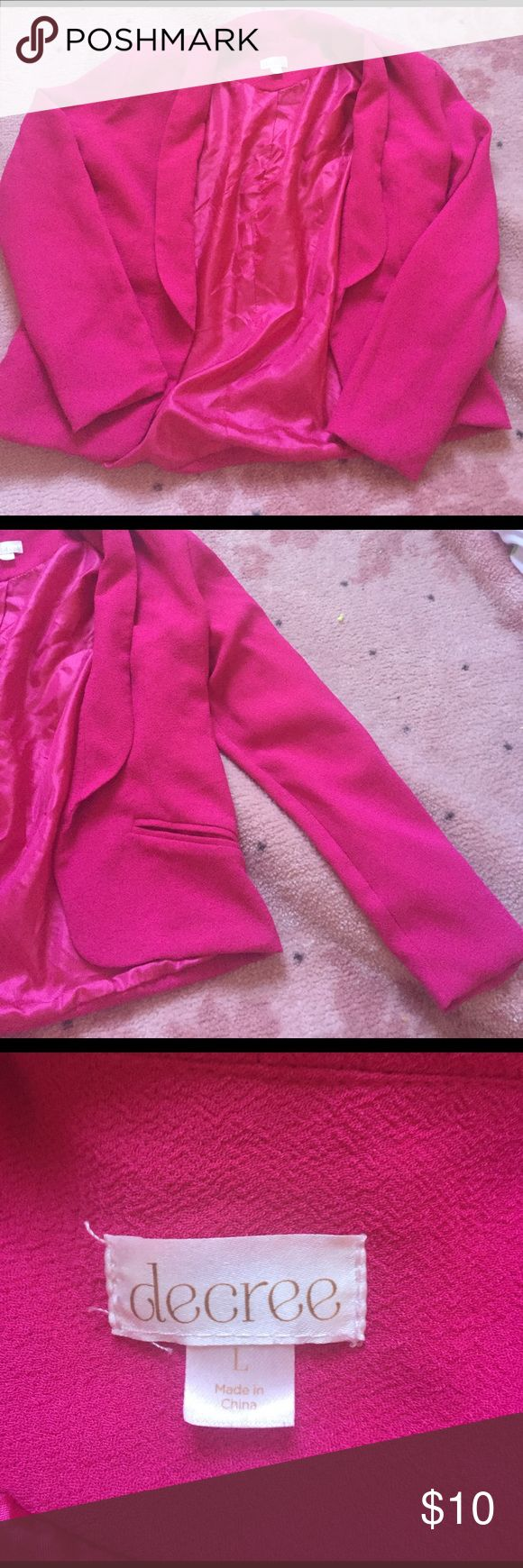 Hot pink blazer Decree size L hot pink blazer Decree Jackets & Coats Blazers