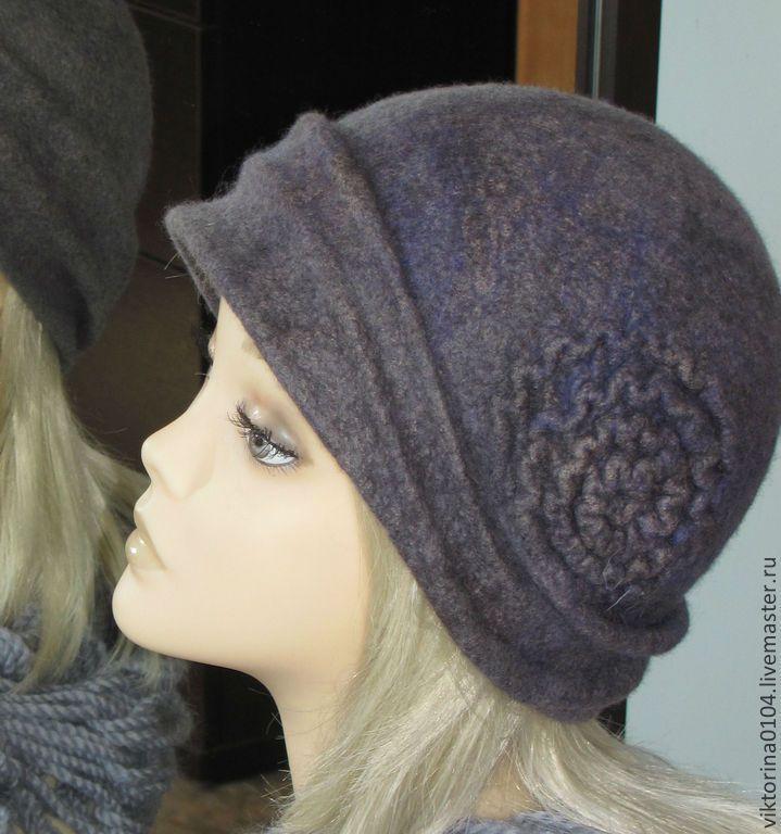 """Шляпка """"Melancholy"""" - серый,меланж,шляпка женская,головной убор женский"""