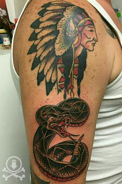 Awesome traditional style rattlesnake added to this native american head by Alex Feliciano.  #12ozstudios #team12oz #tattoos #tattooart #traditionaltattoos #rattlesnake #sailorjerry #tattoosformen #tattoosforwomen